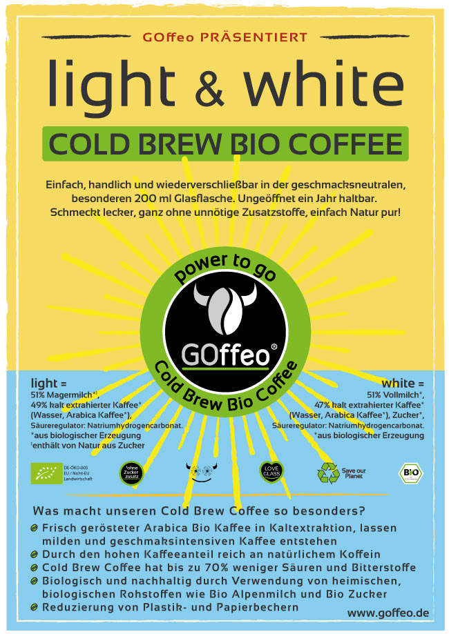 GOffeo-Cold-Brew-Coffee-Sonne-Wasser-Werbe-Plakat-Bio-Kaffee